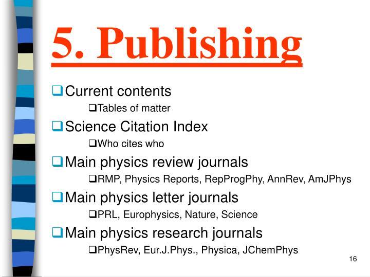 5. Publishing