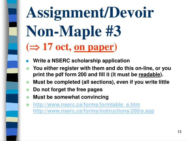 Assignment/Devoir