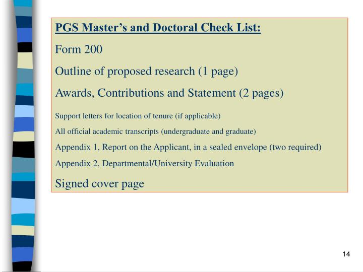 PGS Master's and Doctoral