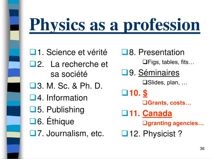 Physics as a profession