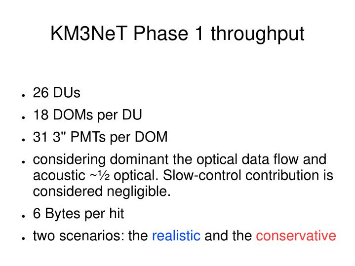 Km3net phase 1 throughput