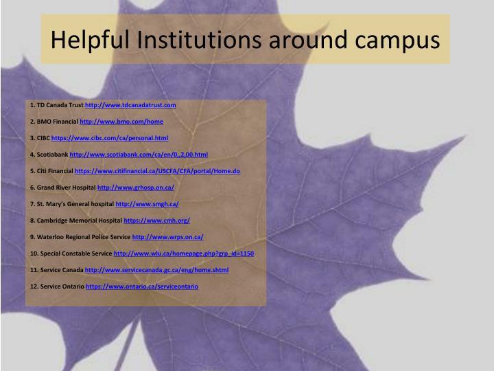 Helpful Institutions around campus