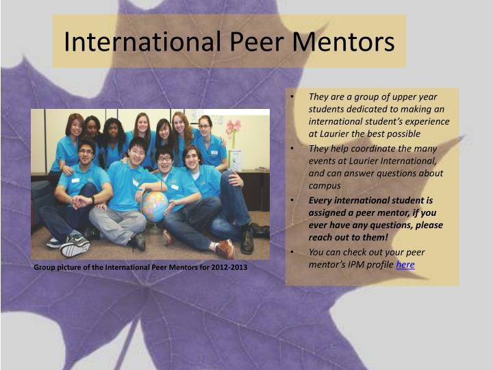 International Peer Mentors