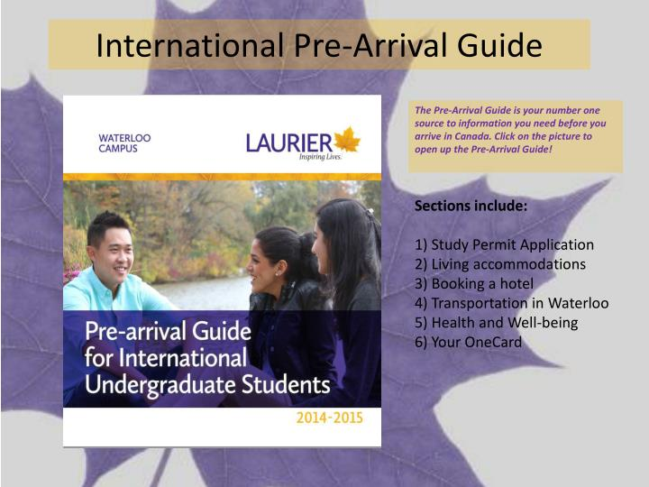 International Pre-Arrival Guide