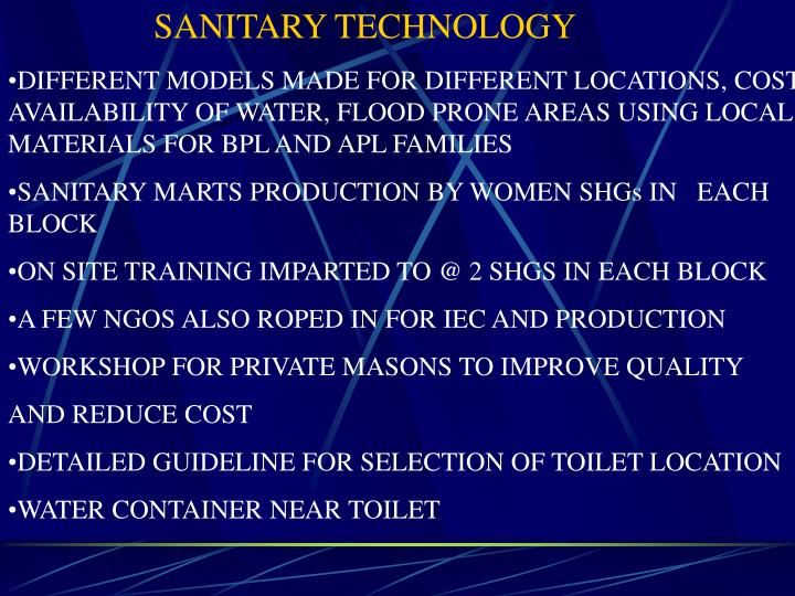 SANITARY TECHNOLOGY