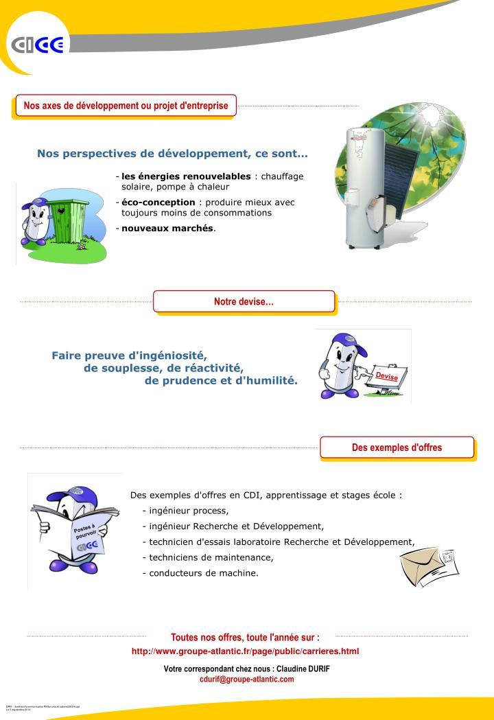 Nos axes de développement ou projet d'entreprise