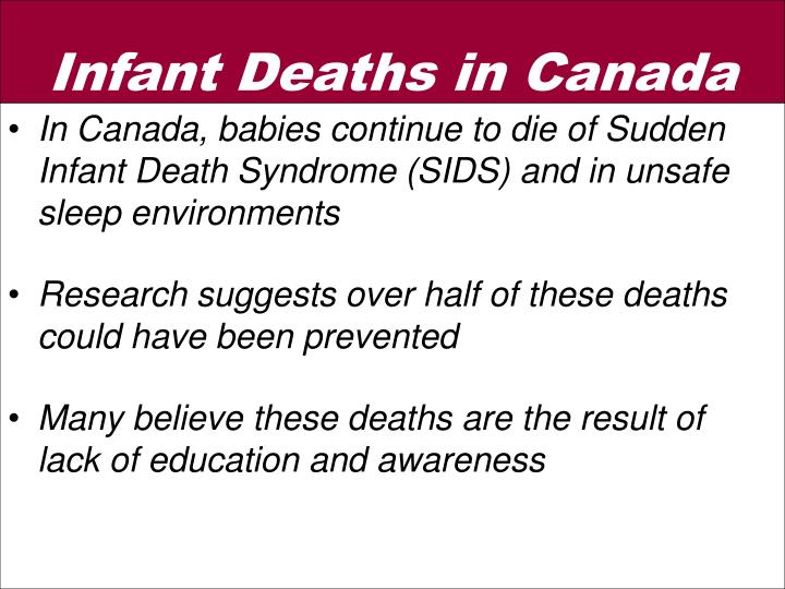In Canada, babies continue to die of Sudden Infant Death Syndrome (SIDS) and in unsafe sleep environments