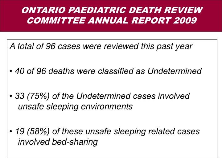 A total of 96 cases were reviewed this past year