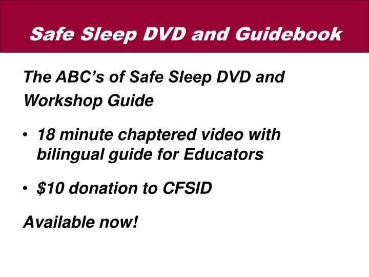 The ABC's of Safe Sleep DVD and