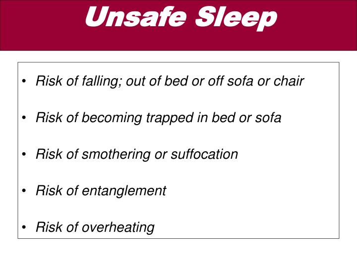 Risk of falling; out of bed or off sofa or chair