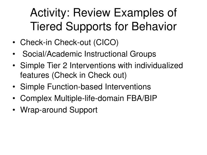 Activity: Review Examples of Tiered Supports for Behavior