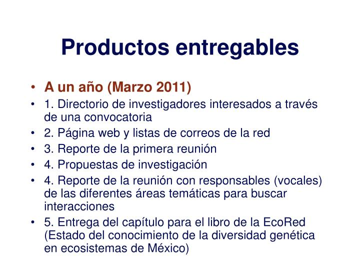 Productos entregables