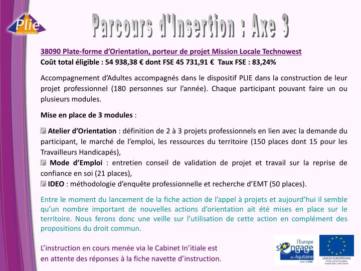 Parcours d'Insertion : Axe 3