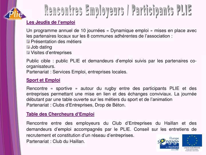 Rencontres Employeurs / Participants PLIE