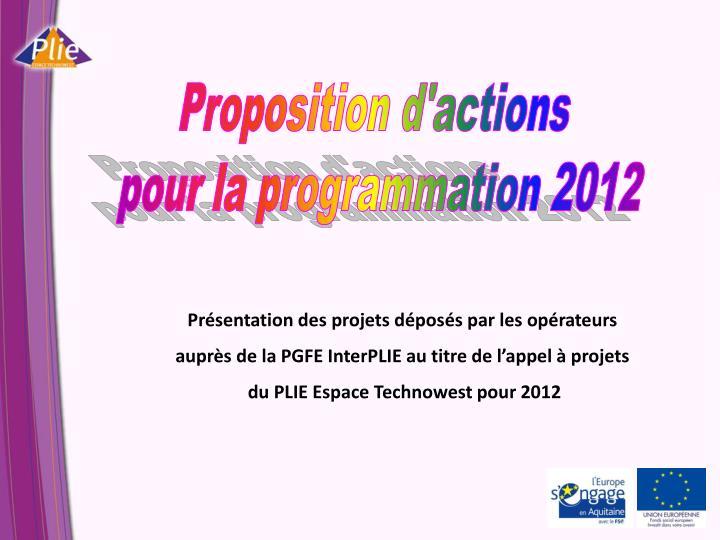Proposition d'actions