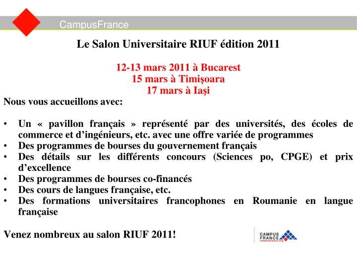Le Salon Universitaire RIUF édition 2011