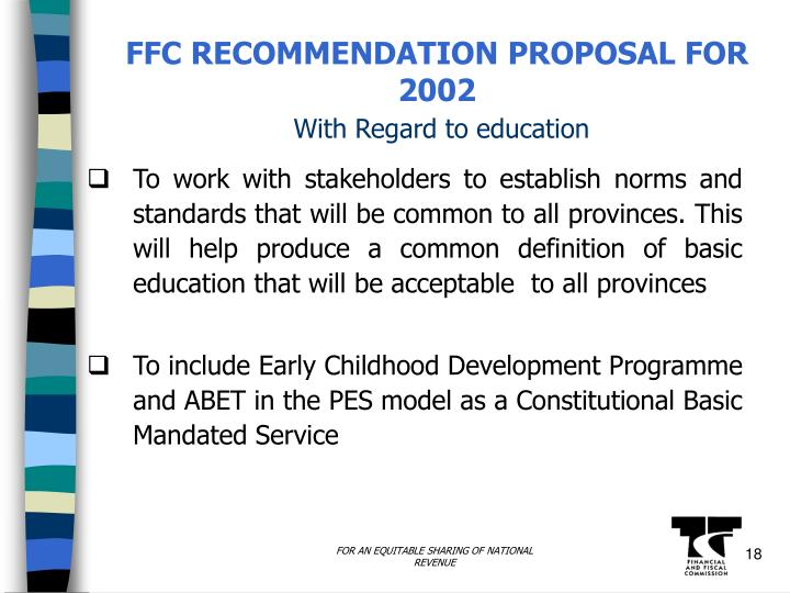 FFC RECOMMENDATION PROPOSAL FOR 2002