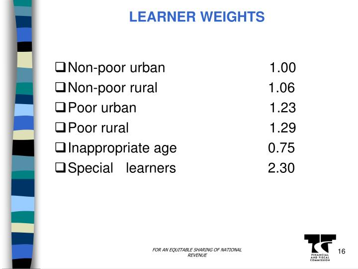 LEARNER WEIGHTS