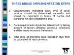 three broad implementation steps