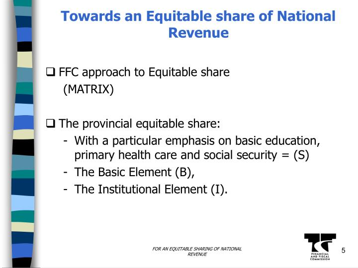 Towards an Equitable share of National Revenue