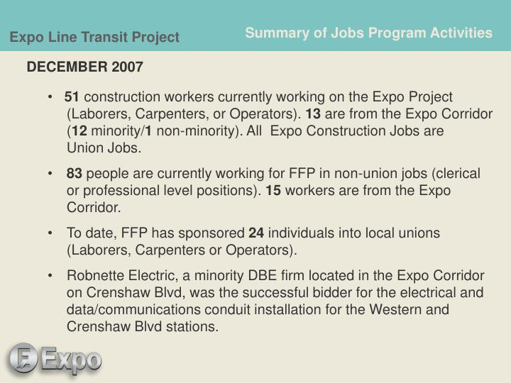 Summary of Jobs Program Activities