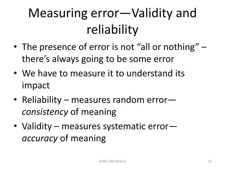 Measuring error—Validity and reliability
