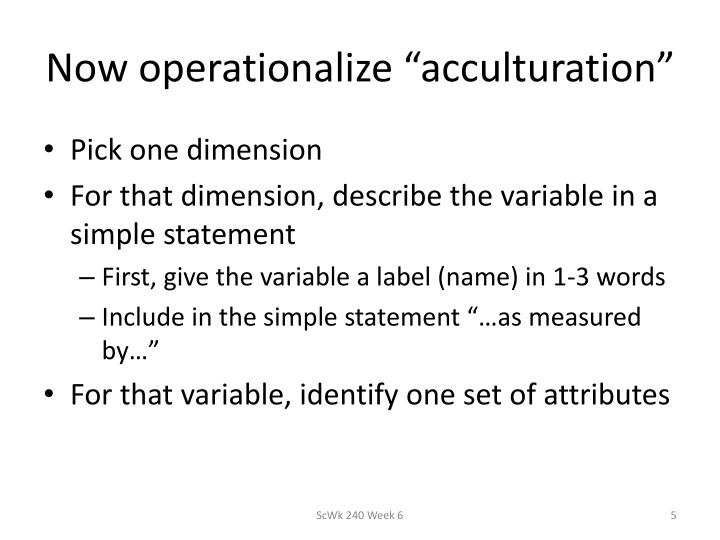 "Now operationalize ""acculturation"""