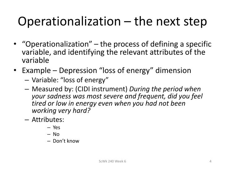 Operationalization – the next step