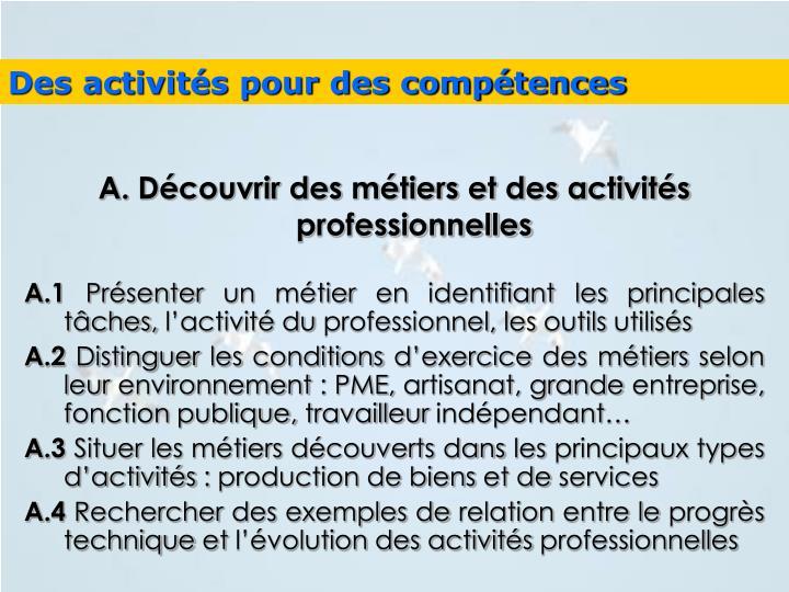 Des activités pour des compétences