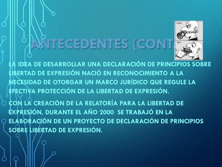 ANTECEDENTES (Cont.)
