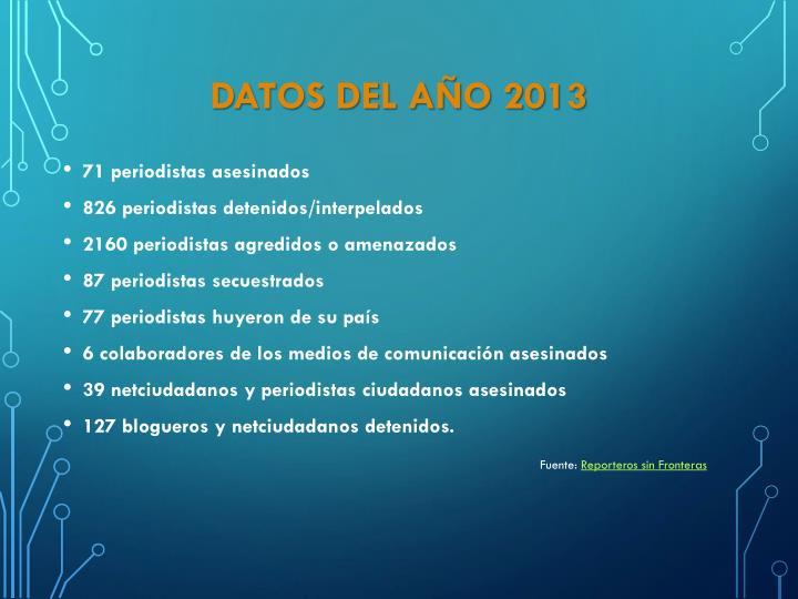 DATOS DEL AÑO 2013