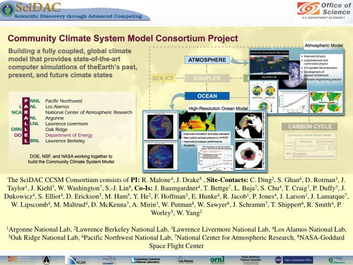 The SciDAC CCSM Consortium consists of