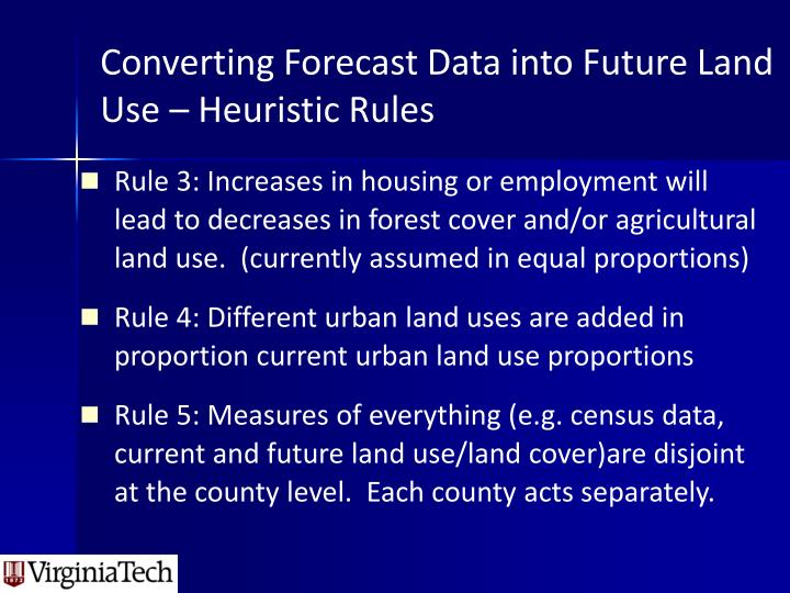 Converting Forecast Data into Future Land Use – Heuristic Rules