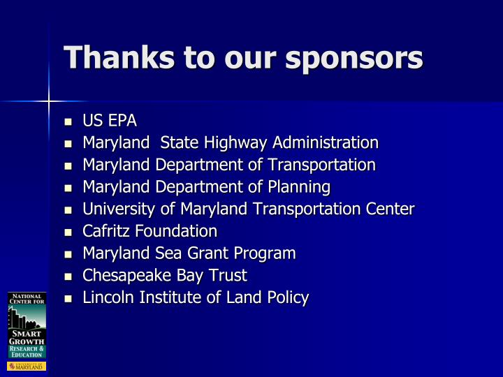 Thanks to our sponsors