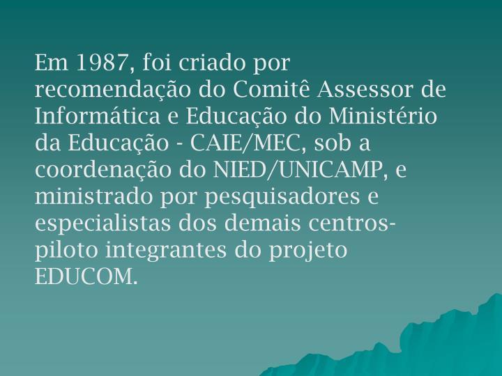 Em 1987, foi criado por recomendação do Comitê Assessor de Informática e Educação do Ministério da Educação - CAIE/MEC, sob a coordenação do NIED/UNICAMP, e ministrado por pesquisadores e especialistas dos demais centros-piloto integrantes do projeto EDUCOM.