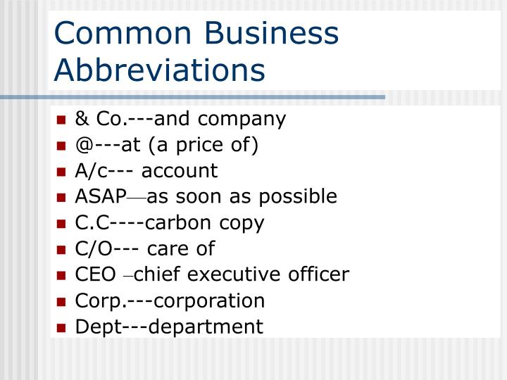 Common Business Abbreviations