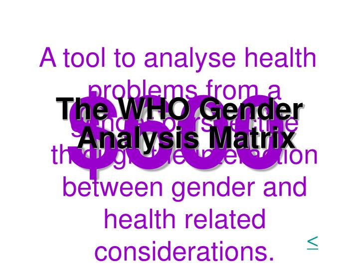 A tool to analyse health problems from a gender perspective through the interaction between gender and health related considerations.