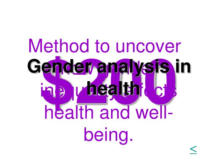 Method to uncover how gender inequality affects health and well-being.
