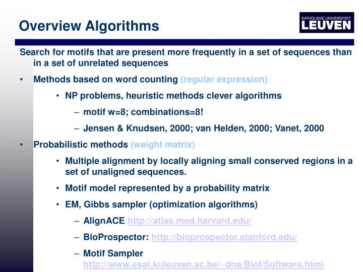 Overview Algorithms
