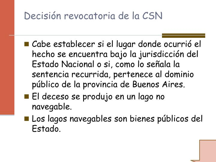 Decisin revocatoria de la CSN