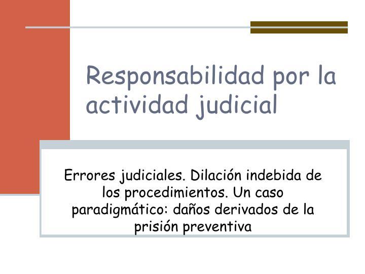 Responsabilidad por la actividad judicial