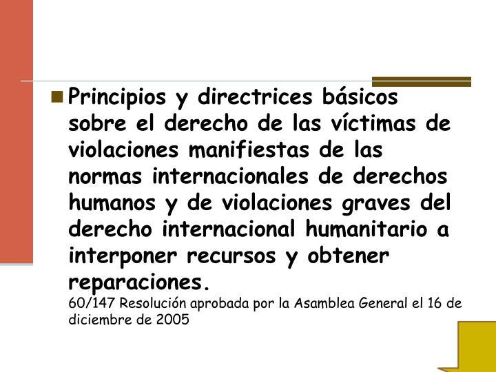 Principios y directrices básicos sobre el derecho de lasvíctimas de violaciones manifiestas de las normas internacionales de derechos humanos y de violaciones gravesdel derecho internacional humanitario a interponer recursos y obtener reparaciones.