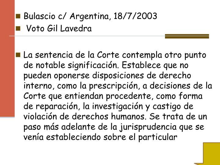 Bulascio c/ Argentina, 18/7/2003