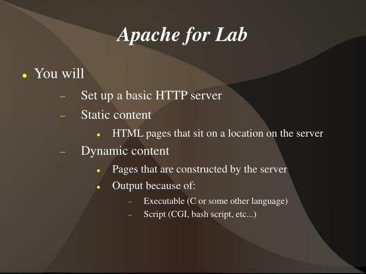 Apache for Lab