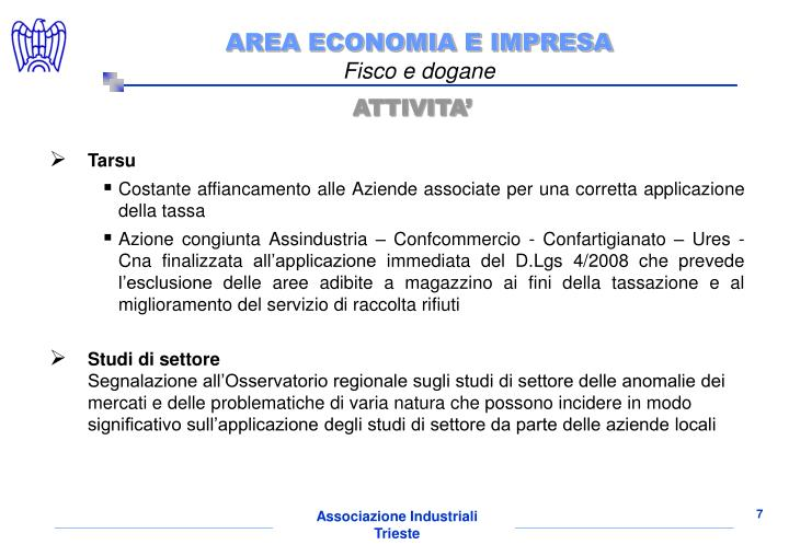 AREA ECONOMIA E IMPRESA