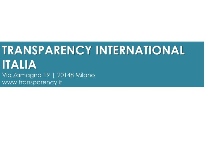 TRANSPARENCY INTERNATIONAL ITALIA