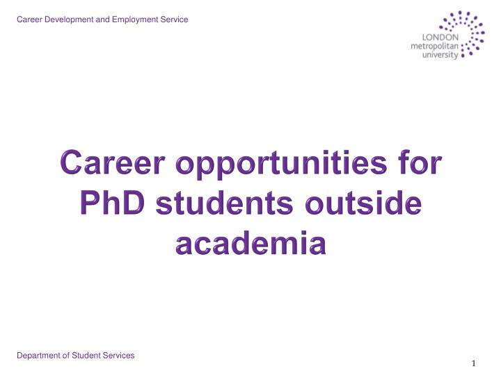 Career opportunities for phd students outside academia