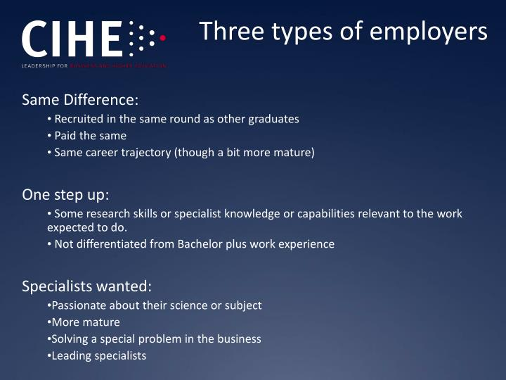 Three types of employers