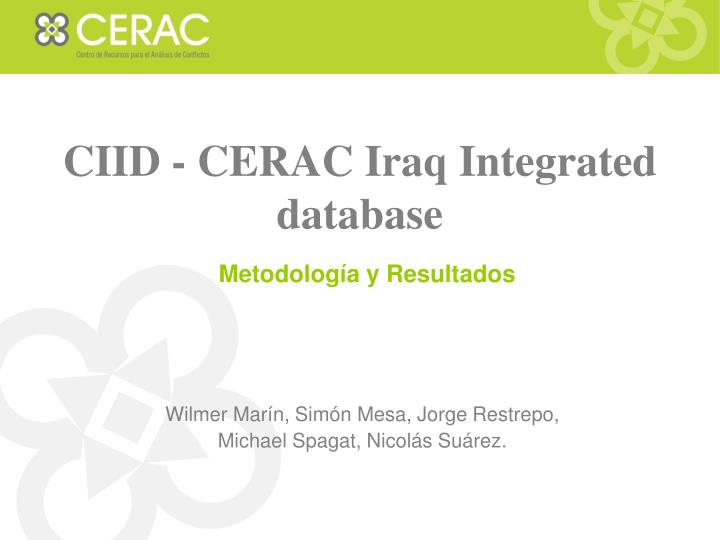 Ciid cerac iraq integrated database