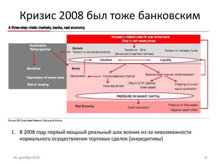 Кризис 2008 был тоже банковским